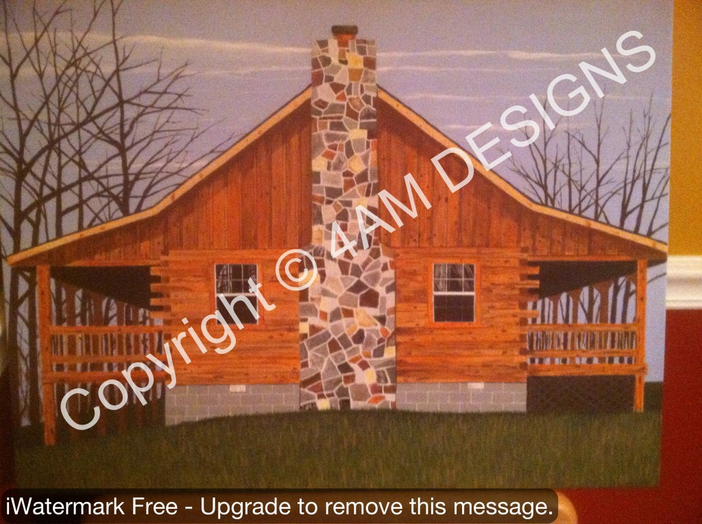 Final Painted Picture of Log Cabin.